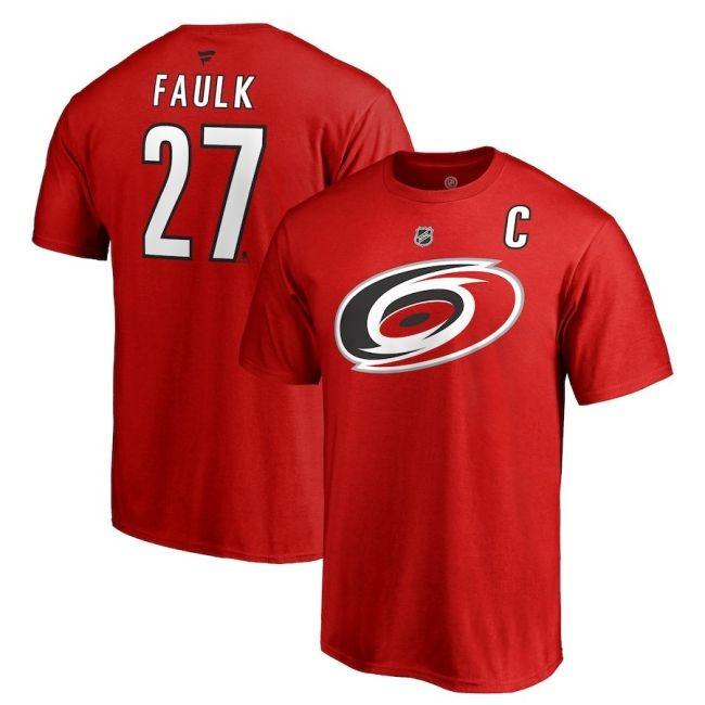 Tričko 27 Justin Faulk Stack Logo Name & Number Carolina