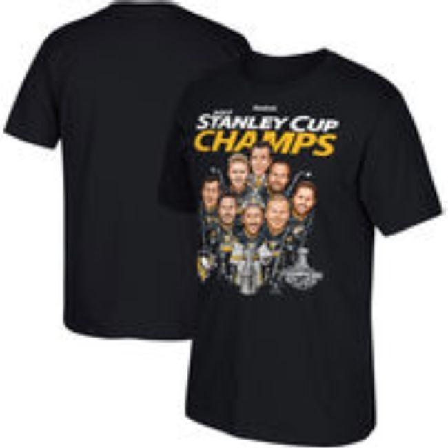 Tričko Reebok 2017 Stanley Cup Champions Caricature T-Shirt - Black Pittsburgh