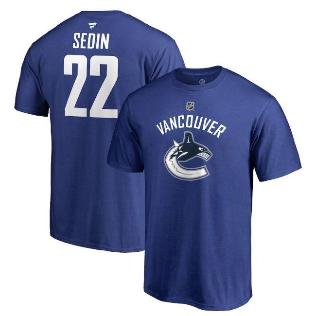 Tričko 22 Daniel Sedin Stack Logo Name & Number Vancouver