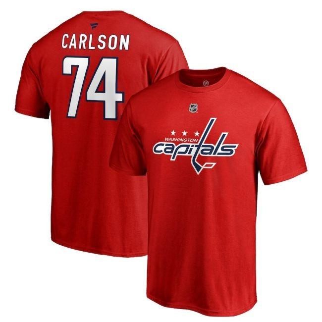 Tričko 74 John Carlson Stack Logo Name & Number Washington